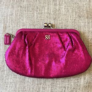 Limited Edition pink sequin Coach clutch